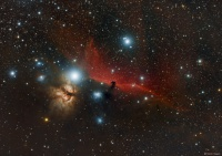 The Horsehead Nebula silhouetted against IC434